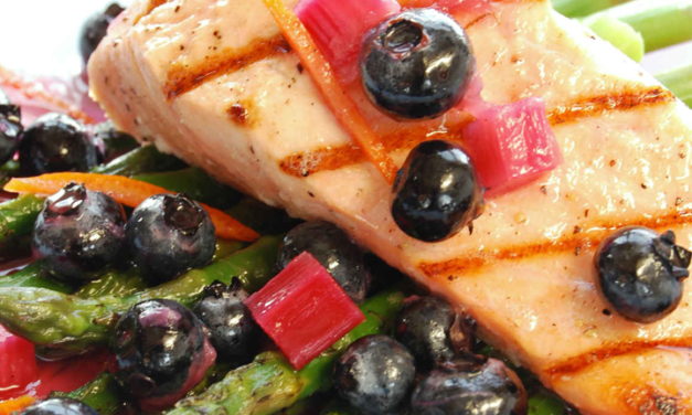 Seared Salmon with Blueberries