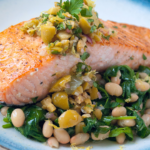 Seared Salmon with Olive Relish