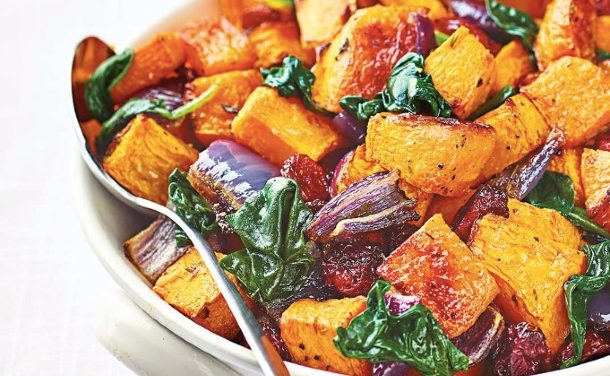 Roasted Butternut Squash with Baby Spinach & Cranberries