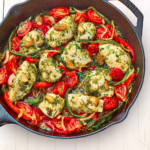 Chicken with Pesto & Peppers in a Cast Iron Skillet